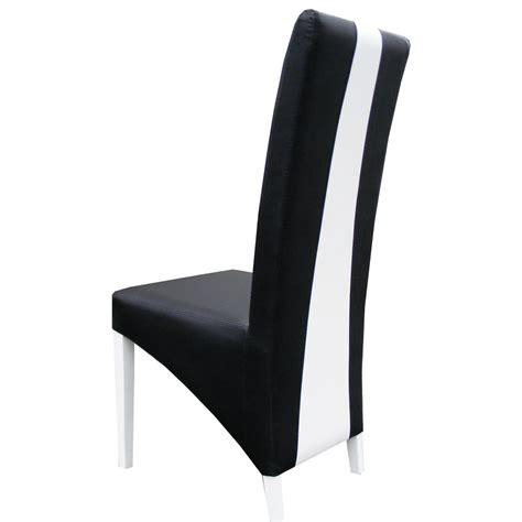 chaise pour chaise moderne noir et blanc en pu erica lot de 2