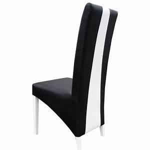 Chaise moderne noir et blanc en pu erica lot de 2 for Meuble salle À manger avec chaise de salon noir