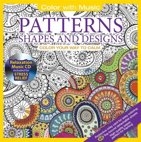 patterns shapes adult coloring book  relaxation cd