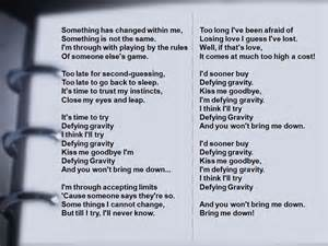 ... week to participate in defying gravity song lyrics can be found below
