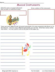 Music is the art of producing sounds in a harmonic way by the help of vocal or instrumental sounds. Musical Instruments Worksheet for 2nd - 3rd Grade | Lesson Planet