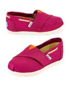 TOMS Grosgrain Bimini Boat Shoe Pink Orange Tiny