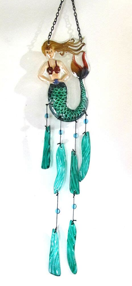 mermaid glass suncatcher wind chime porch  patio decor