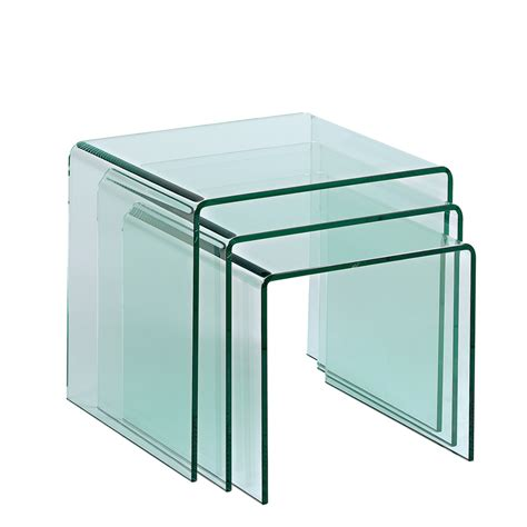 Clear Dining Room Set by Puro Glass Nest Of Tables Clear Dwell