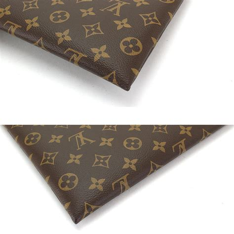 auth louis vuitton monogram pochette  clutch bag