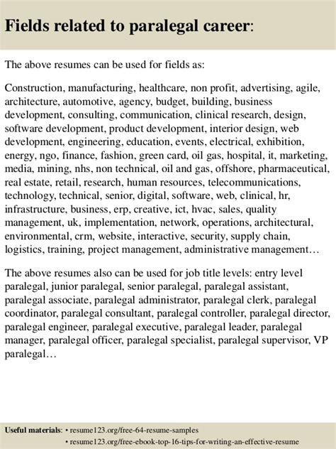 top 8 paralegal resume sles
