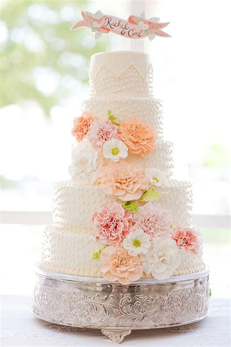 6 Southern Wedding Peach Flower Cake