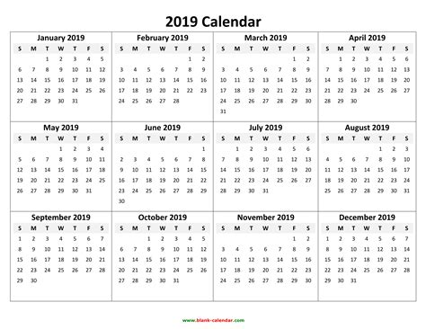 Yearly Calendar 2019 | Free Download and Print