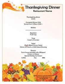 thanksgiving menu template format template