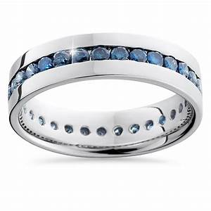 125ct blue diamond channel set eternity mens wedding ring With mens wedding ring with blue diamonds