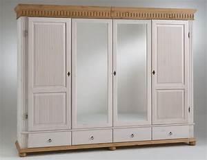 Kleiderschrank Antik Weiß : kleiderschrank 4t rig 252x218x62cm 2 spiegelt ren geteilte t rf llung 4 schubladen kiefer ~ Frokenaadalensverden.com Haus und Dekorationen