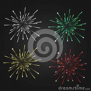 Fireworks Isolated On A Dark Background, 4 Different ...