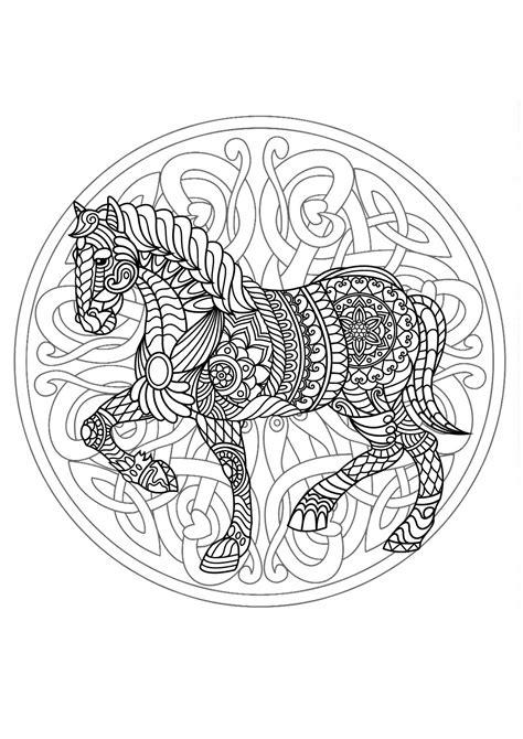 complex mandala coloring page  horse  difficult mandalas  adults  mandalas zen