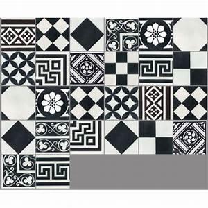 carreau de ciment sol et mur noir et blanc patchwork l20 With joint carreau de ciment