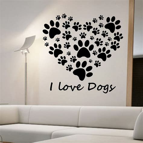 love dogs paw print wall stickers heart removable diy
