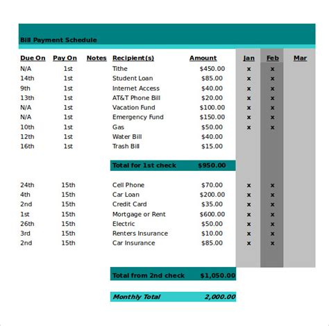 bill payment schedule template 21 monthly work schedule templates pdf doc free premium templates
