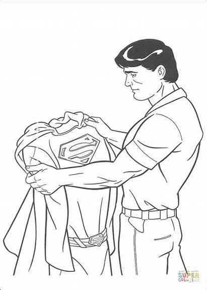 Coloring Costume Pages Holding Superman Clark Kent