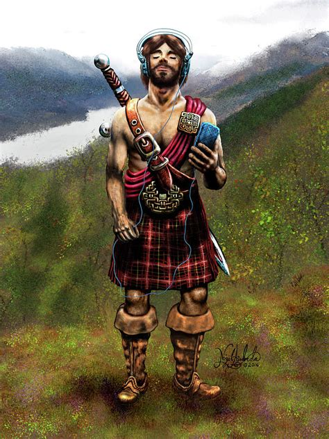 Celtic Warrior with an iPod Painting by Nigel Andreola