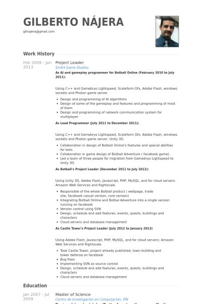 project lead resume