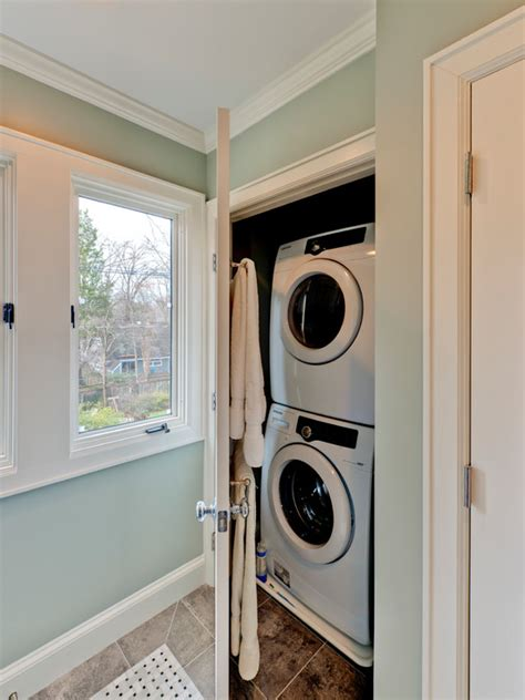 hidden washer  dryer contemporary laundry room