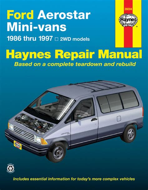 manual repair free 1997 ford aerostar electronic throttle control ford aerostar haynes manual 36004 mini van service repair
