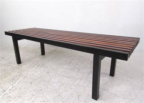 Unique Midcentury Modern Slat Bench Coffee Table For Sale