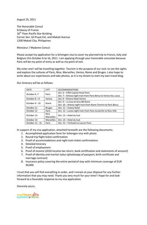 cover letter  schengen visa application  french