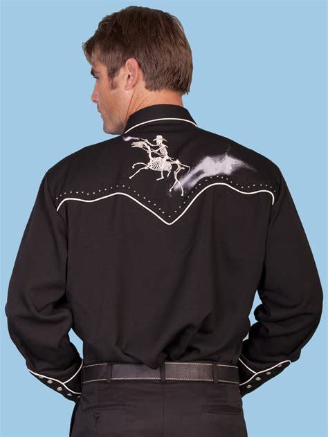 scully and scully ls scully mens black embroidered ghost rider ls shirt