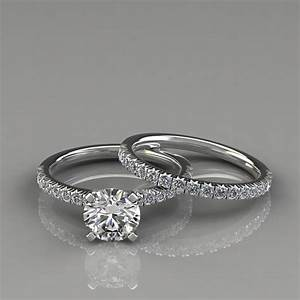 French pave cut engagement ring and wedding band set for Wedding ring descriptions