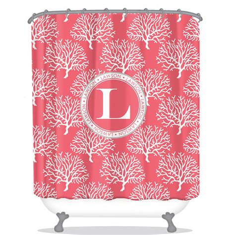 personalized shower curtain coral personalized shower curtain monogrammed shower
