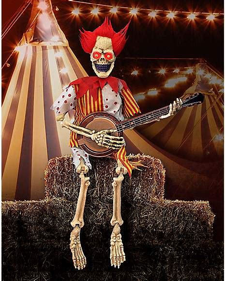 ft banjo playing skeleton clown decorations
