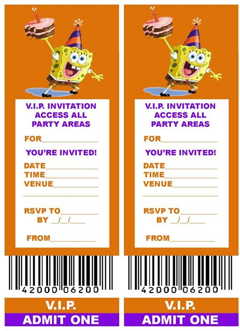 spongebob  printable vip ticket style spongebob