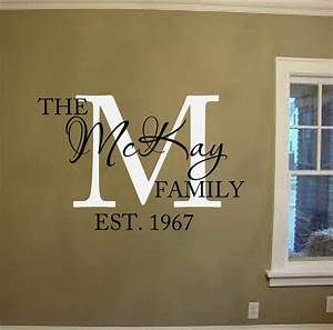 Family name vinyl lettering wall words decal family for Vinyl names lettering