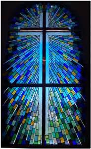 Church Stained Glass Window Crosses