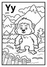 Yeti Coloring Letter Colorless Alphabet Template Pages Illustration sketch template