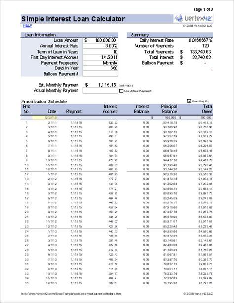 simple interest loan calculator  mortgage