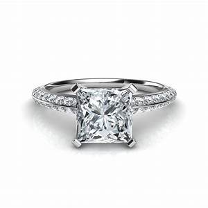 knife edge pave princess cut engagement ring in 14k white gold With wedding ring diamond cuts