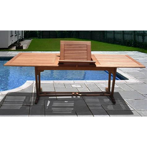 vifah 174 outdoor wood rectangular extension table 218704
