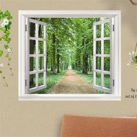 Self Adhesive Garden Fake Window Wallpaper Landscape