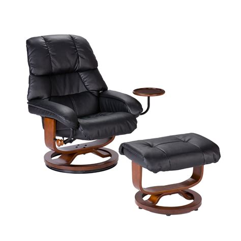 southern enterprises modern leather recliner and ottoman