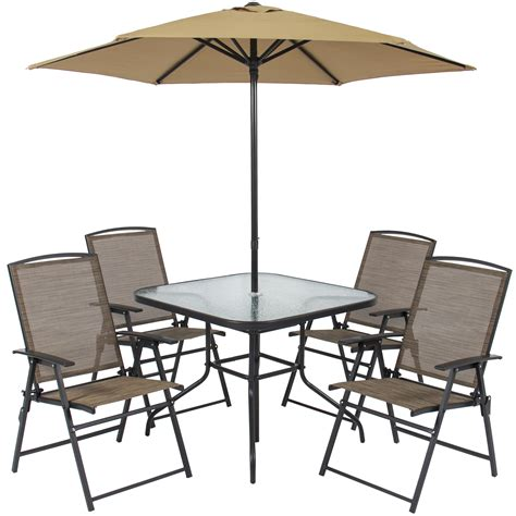 patio table with 6 chairs patio table chairs umbrella set new best choice products