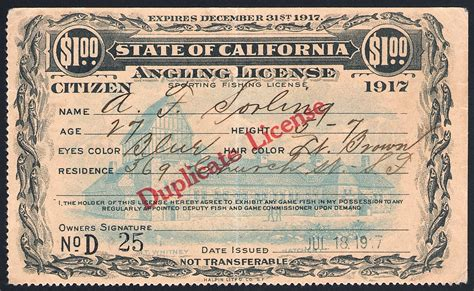 fishing california license hunting licenses duplicate 1917 citizen number five killer four overprinted anglers preceded serial note figure waterfowlstampsandmore