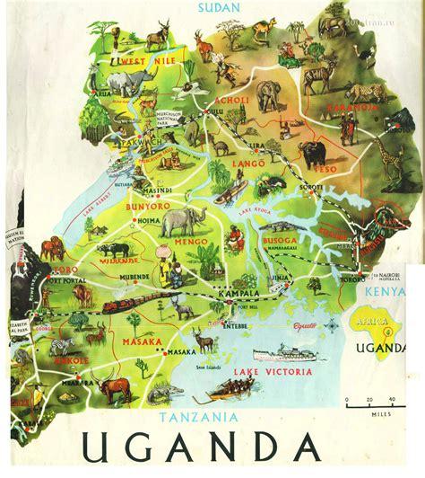 detailed travel map  uganda uganda detailed travel map