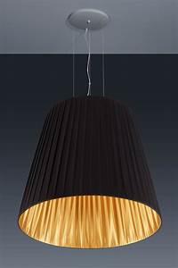Suspension Noir Et Or : tr s grande suspension conique en taffetas de tissu pliss noir et or baulmann leuchten ~ Teatrodelosmanantiales.com Idées de Décoration
