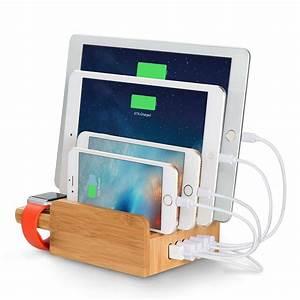 Ipad Iphone Ladestation : merit bambus 2 port usb ladestation mit st nder f r apple watch multi device schreibtisch ~ Markanthonyermac.com Haus und Dekorationen