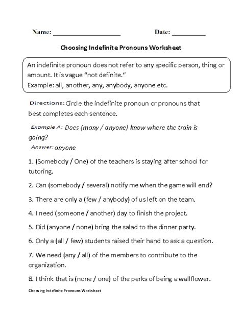 18 best images of subject verb worksheets high school and linking verbs worksheets - Indefinite Pronouns Worksheet
