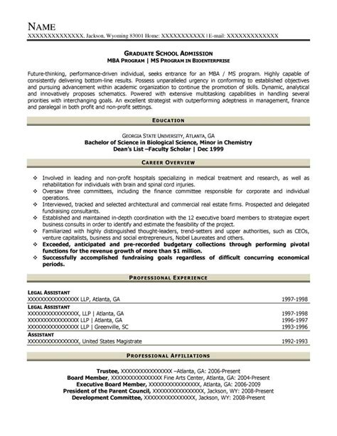 resume grad school admission