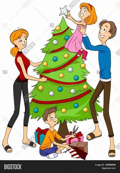 Tree Decorating Christmas Vector Lightbox Save