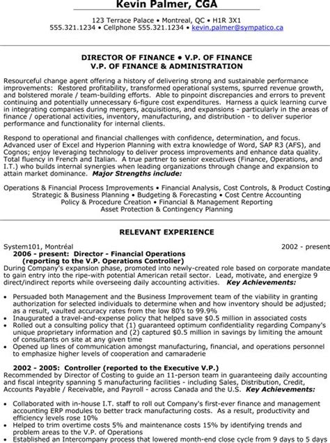 Vp Resume Sles Finance by Finance Resume And Presidents On