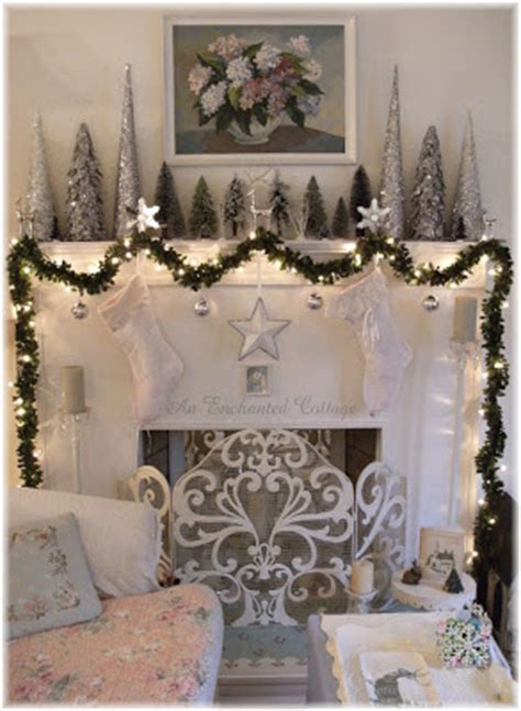 enchanted cottage winter white silver  green